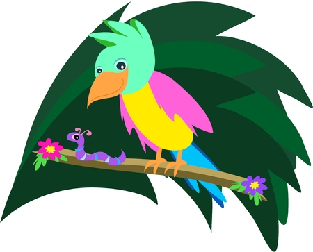 birds of paradise: Parrot and Worm Sharing a Branch Illustration