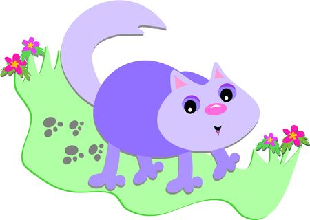Purple Cat with Paw Prints