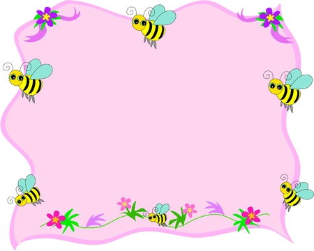 frame: Bee Frame with Pink Background