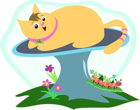 Cat on a Mushroom with Caterpillar Vector