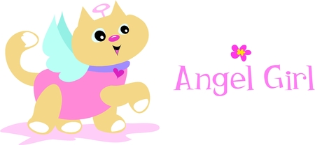 Angel Girl Cat Vector