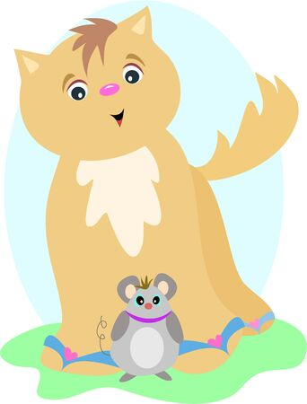 Brown Cat with Friendly Mouse Vector