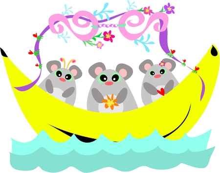 Banana Boat with a Trio of Mice Vector