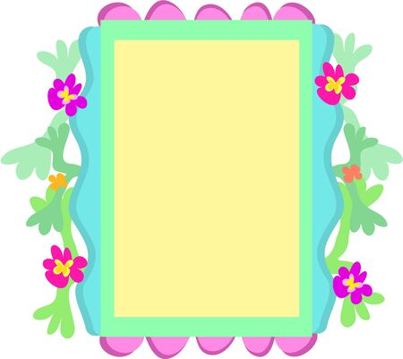 Quirky Frame of Flowers, Shapes, and Colors