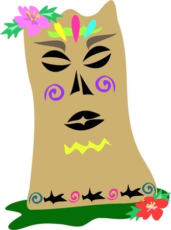 Polynesian Tiki Statue with Shark Tattoos Stock Vector - 4594619