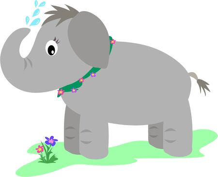 Elephant Showers with Flowers Vector