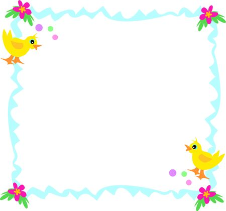 Blue Frame with Ducks, Bubbles, and Flowers Illustration