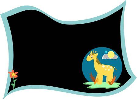 Giraffe on Message Board Ilustração