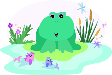 Frog in a Fish Pond Vector