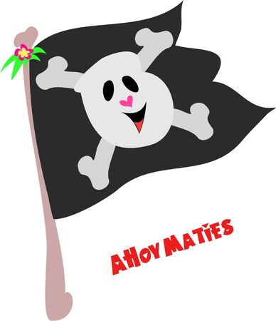 ahoy: Pirate Flag with Ahoy Maties Greeting