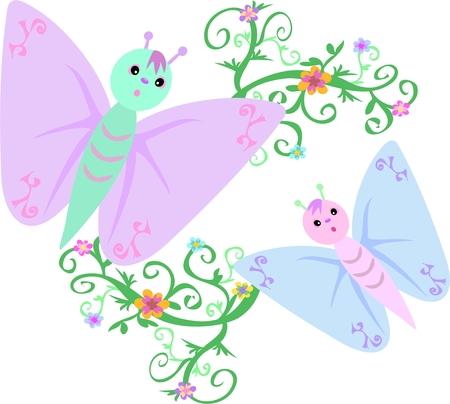 Pastel Butterflies and Flowering Vines