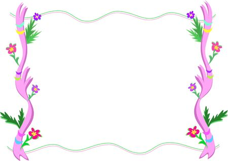 Frame of Fronds Flowers, and Ribbons