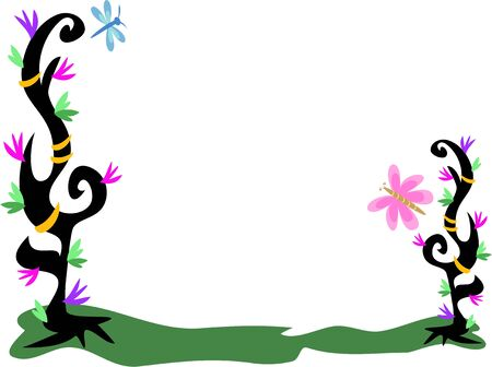 Frame of Plants, Dragonfly, and Butterfly Vector