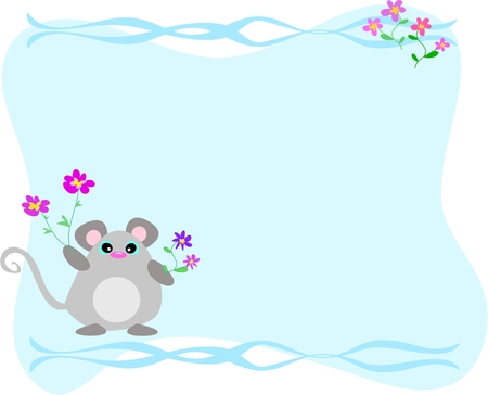 Blue Frame with Mice and Flowers Illustration