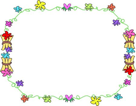 Frame of Tropical Flowers and Wooden Bundles Illustration