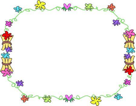 frame: Frame of Tropical Flowers and Wooden Bundles Illustration