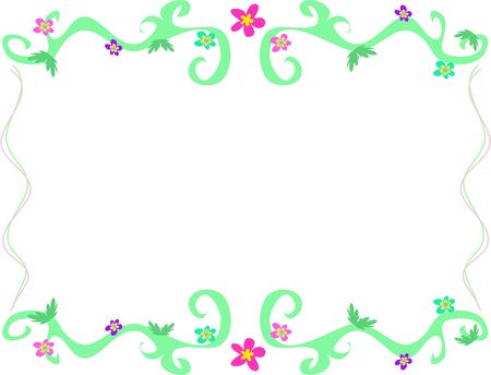 Frame of Green Vines and Flowers Illustration