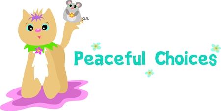 猫およびマウスの友人で平和的な選択肢  イラスト・ベクター素材