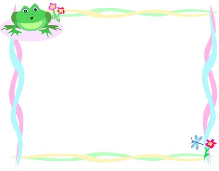 Frame of Cute Frog and Dragonfly Vector
