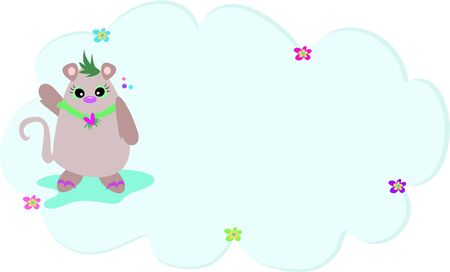 Tropical Mouse with Message Bubble Vector