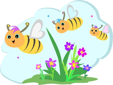 triplet: Bee Trio Flying in a Flower Garden