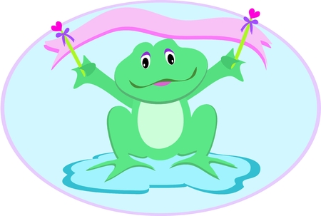 Frog with Heart Banner Vector