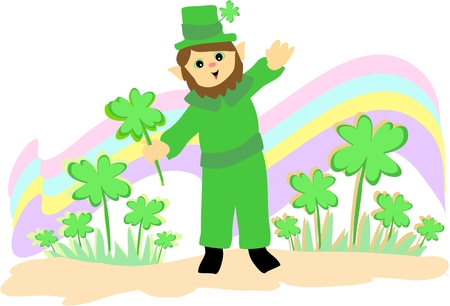 St. Patrick�s Day Leprechaun and Clovers Vector
