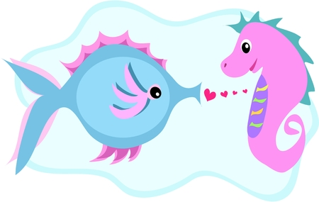Fish and Seahorse Love Connection Vector