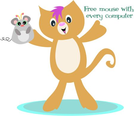 Cat and Free Mouse with Every Computer  Illustration