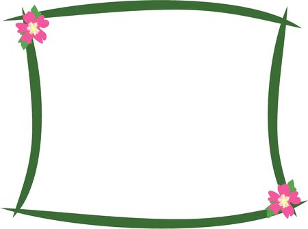 Green Frame with Hibiscus Flowers