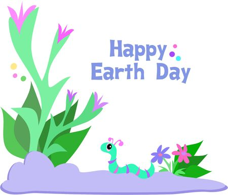 Happy Earth Day with Plants and Cute Worm