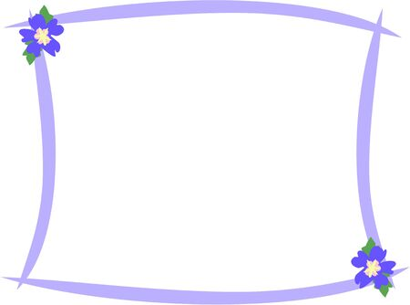 Frame with Violet Hibiscus Flowers Illustration