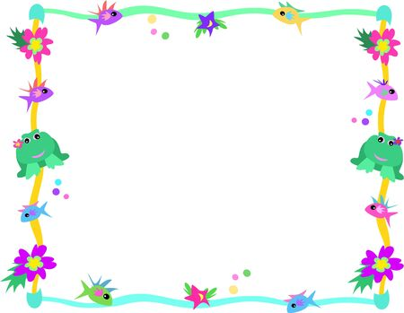 fishes: Frame of Frog, Fish, Flowers, and Stars