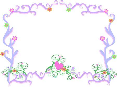 Frame van Licht Paars Swirls en Bloemen