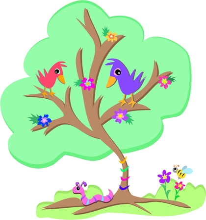 Green Tree met Vogels, Worm en Bee