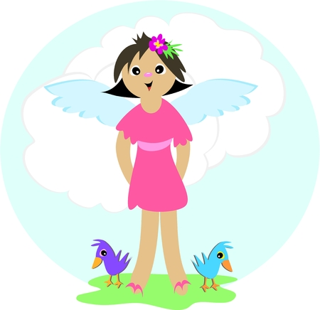 Angel Girl with Two Birds Vector