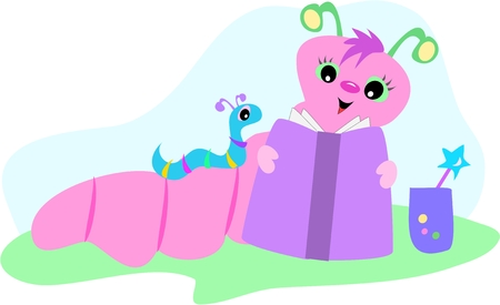 Pink and Blue Bookworms Иллюстрация