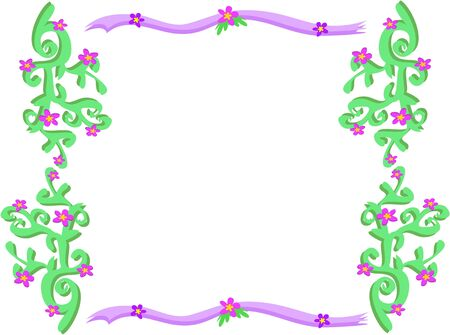 Frame of Floral Borders with Vines and Ribbons Vector