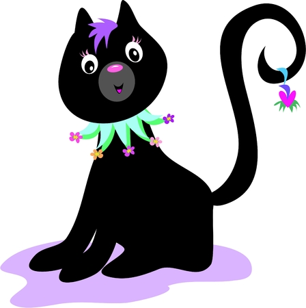 Black Cat with Flower Collar