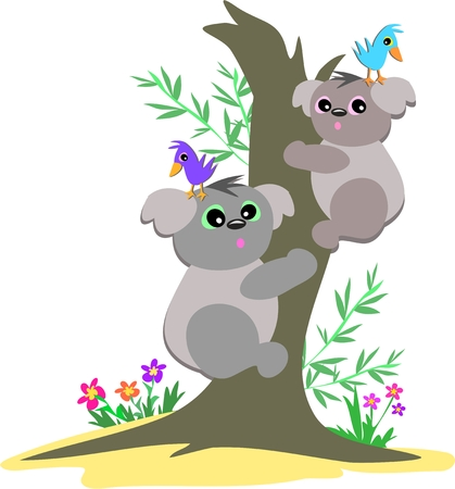 Koala Kids Up a Tree Stock Illustratie