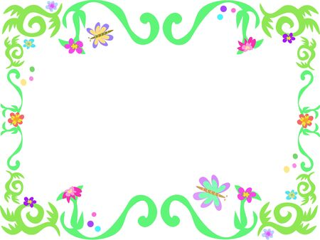 Frame of Green Vines and Butterflies Illustration