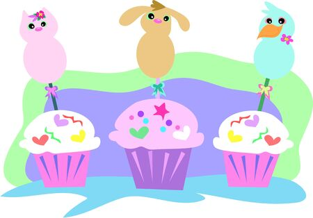 cupcake illustration: Animal Cupcakes