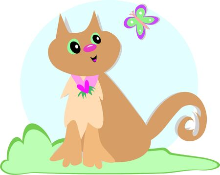 Cute Cat and Butterfly Stock Vector - 4808391