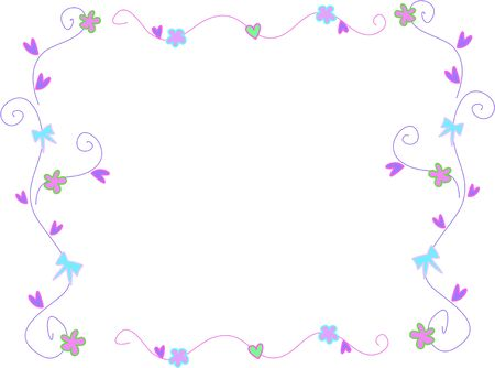 Frame of Bows, Flowers, and Hearts