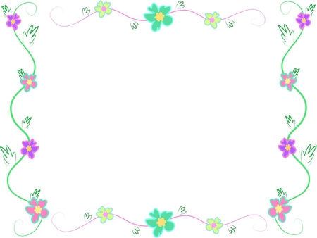 Frame of Hibiscus Flowers and Leaves Stock Vector - 4808399