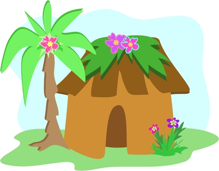 Tropical Hut with Palm Tree