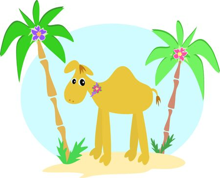 Camel and Palm Trees Vector