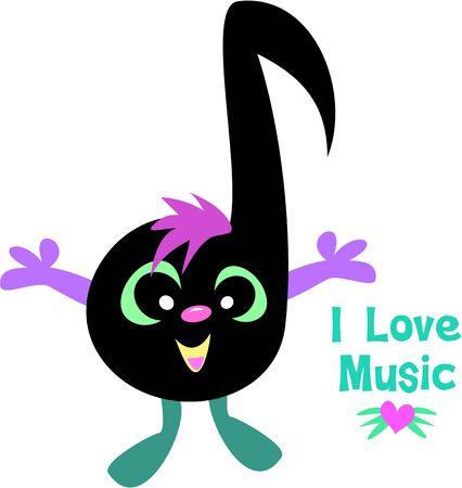 Music Note Saying I Love Music
