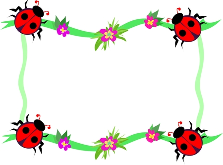 Frame of Red Ladybugs and Flowers