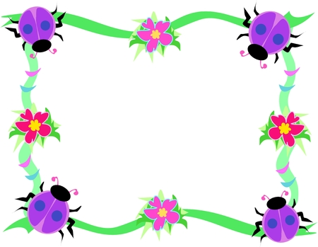 Frame of Purple Ladybugs, Flowers, and Rings Vector